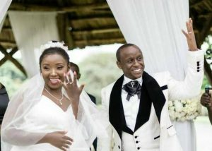 kate kamau and her husband Philip Karanja during their wedding