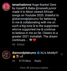 instagram ya Tanasha ujumbe kwa Diamond