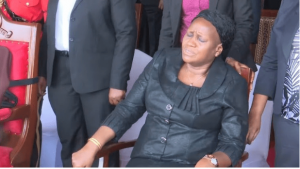 Janeth Magufuli at the funeral of her husband